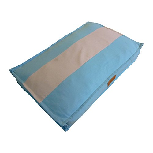 """Ellie-Bo Large 87cms x 57cms Striped Blue and Grey Dog Bed will fit 36"""" Large Dog Cage or Crate"""