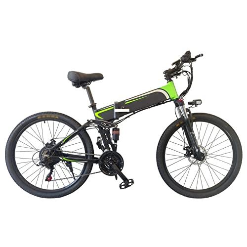HMEI Bicicleta Eléctrica para Adultos, Bicicleta Eléctrica Plegable de Montaña 26' Adultos Ebike con Motor de 500W y Batería Extraíble de 48V 10Ah, Bicicleta Eléctrica de 25MPH (Color : Verde)