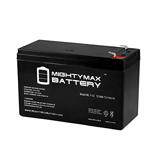 ML7-12 - 12 VOLT 7.2 AH SLA BATTERY - Mighty Max Battery brand product, black