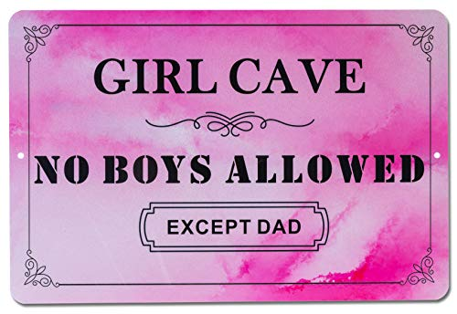 HOMANGA Funny Girl Cave Metal Tin Sign, Decorative Wall Decor for Girls Room, Girl Cave No Boys Allowed Bedroom Door Sign, Perfect Gift for Daughter 12x8 Inch Pink
