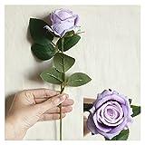 YINGNBH Rosas Artificiales Flores Artificiales Seda Rosa Ramo Largo Ramo para la decoración del hogar de Boda Plantas Falsas de Bricolaje Accesorios (Color : Purple, Size : 1 Piece)