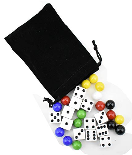 9/16 inch Marbles Aggravation Board Game Replacement Playing Pieces with Dice 16mm