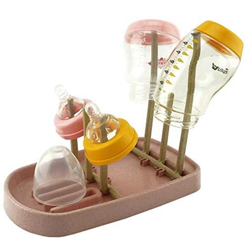 XKMY Babyflaschen-Trocknerständer, abnehmbares Babyflaschen-Abtropfgestell, Babyflaschen-Trockner, Reinigung, Füttern, Becherständer, Nippelablage zum Trocknen für Flaschen (Farbe: rosa Weizen)
