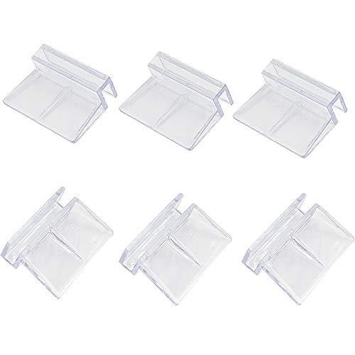 Smoothedo-Pets 6 piezas de plástico acrílico para tanque de peces de acuario, soporte de clip de soporte de clip transparente (12 mm/6 piezas)