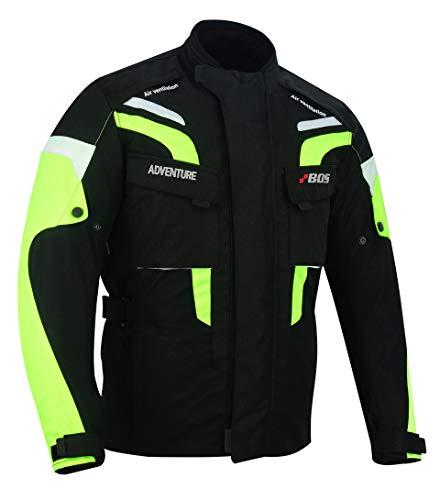 BOSmoto Herren Motorradjacke mit Protektoren und Reflektoren - Motorrad Jacke Cordura Textil - wasserdicht Winddicht (5XL, Neon), 2080adventure