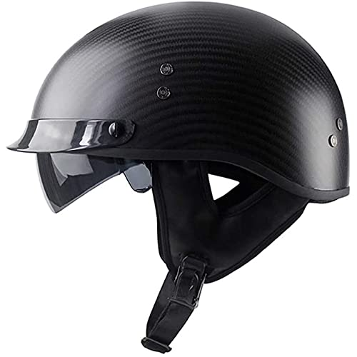QIANGU Casco medio de fibra de carbono para motocicleta, casco de cara abierta, estilo vintage, para bicicleta, turismo, scooter, aprobado por DOT/ECE (color: negro mate, tamaño: L/grande (59-60 cm)