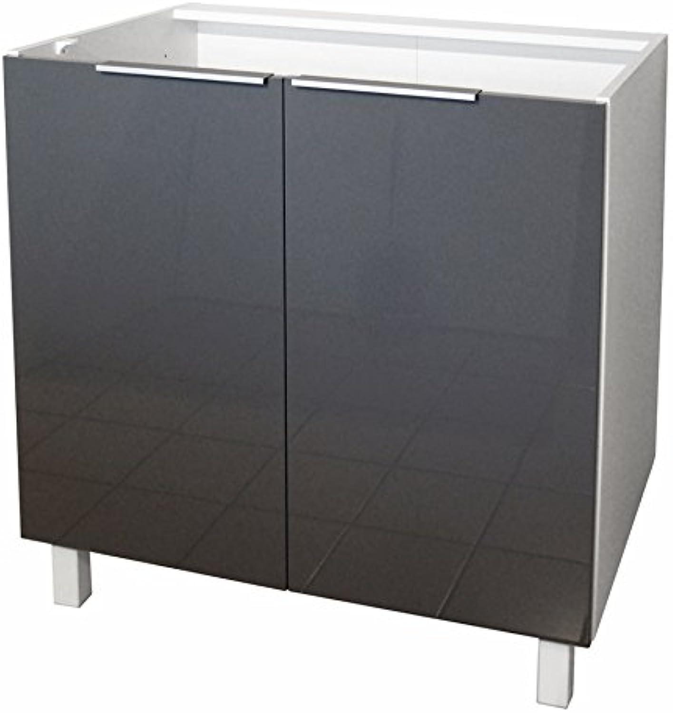 Berlenus Küchenunterschrank, mit 2 Türen, Grau Hochglanz, 80 x 52