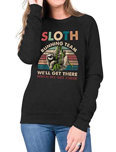Dresswel Damen Sloth Running Team Sweatshirt Faultier Lauf Pullover Langarmshirts Rundhals Langarm Shirt Jumper Bluse Tops