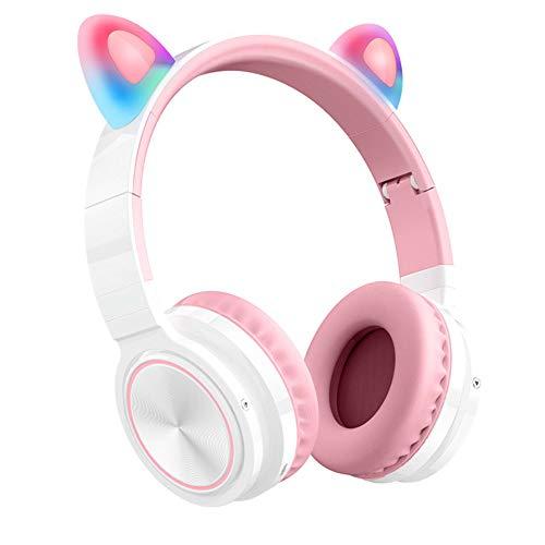 laiwu Bluetooth Headphones, Cat Ear LED Light Up Wireless Foldable Headphones Over Ear with Microphone and Volume Control for iPhone/iPad/Smartphones/Laptop/PC/TV (Pink&Green) White