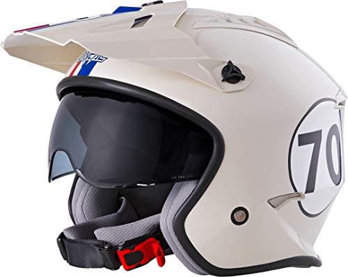 O'NEAL | Casco de Motocicleta | Motocicleta de Enduro | Estándares de Seguridad ECE 22.05, Casco ABS, Visera integrada | Casco Volt Herbie | Adultos | Blanco Rojo Azul | Talla M