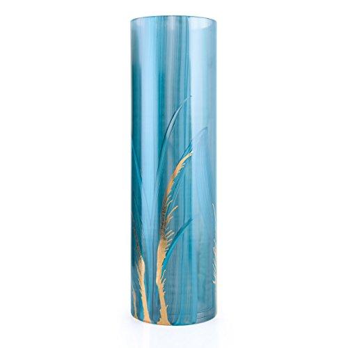Angela neue Wiener Werkstaette 71203001Vase en Verre anoblit cylindrique, Turquoise, 10x 10x 30CM