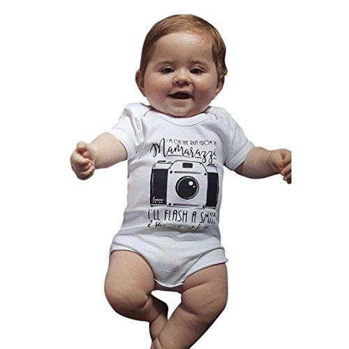 Baby Kurzarm Bodys Longra Baby Mädchen Jungen Letter Muster Strampler Playsuit Schlafstrampler Babykleidung Sommerkleidung (White, 85-90CM 12Monate)