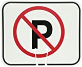 Cortina ABS Plastic Traffic Cone Sign, 'NO PARKING' 03-550-NP, 12.75' Width x 10.375' Height, Black on White