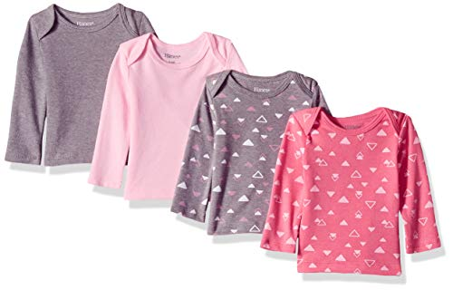 Hanes Ultimate Baby Flexy 4 Pack Long Sleeve Crew Tees, Pink Shapes, 6-12 Months