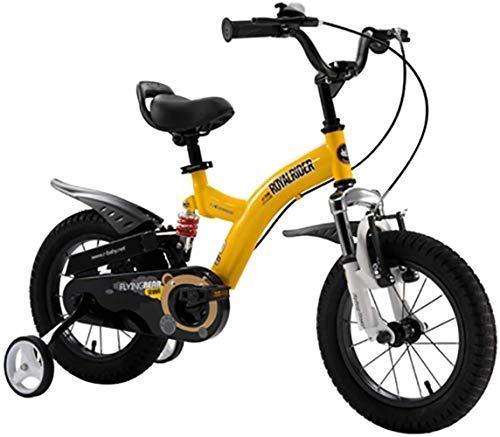 LSZ 12 14 16 Pulgadas Pedal de niños Bicicleta con Ruedas de Entrenamiento Ruedas inflables de Goma Chica Ajustable de Acero de Alto Carbono Bicicleta para niños (Color : Yellow, Size : 14)