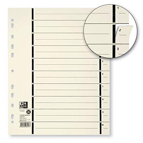 Oxford Trennblatt für Ordner A4 aus Karton mit Perforation, chamois, 100er Pack