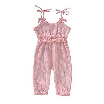 Kids Newborn Infant Baby Boys Girls One Piece Romper Clothes Jumpsuit Ruffled Halter Bodysuit  Pink Size 6-12 Months 80