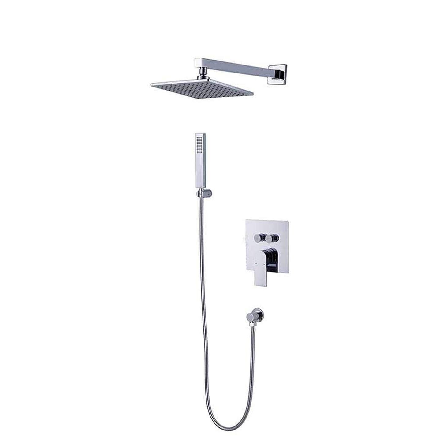 冷ややかな評価するプログラムGulakey システムシャワー、バスルームシャワーミキサーセットステンレス鋼真鍮CHROMシャワーセット蛇口ダークウォール別々のボタンデザインヘッドハンドセットをマウント
