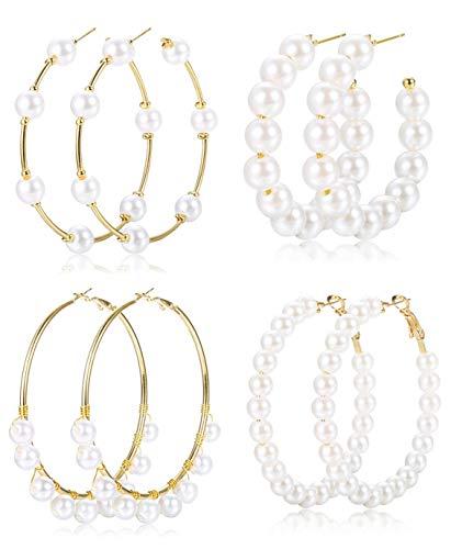 Finrezio 4 Paar Faux Pearl Creolen für Frauen Leichte offene große Kreis runde Perlen Ohrringe Bräute Schmuck