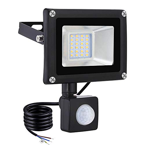 20W Outdoor Security Lights with Motion Sensor, LED Floodlight, Cool White/Warm White, 1600LM IP65 Waterproof Perfect for Garage, Garden and Forecourt[Energy Class A]