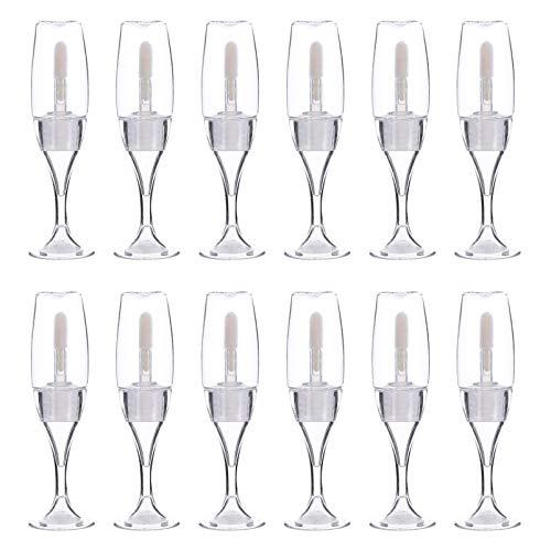 Minkissy 12Pcs Tubos de Brillo de Labios Vacíos Botellas de Bálsamo Labial en Forma de Copa de Vino Viales de Muestra de Lápiz Labial de Viaje Recargables con Cepillo de Varita para
