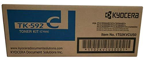 Kyocera TK-592C 1T02KVCUS0 FS-C2026 C2126 C2526 C2626 C5250 M6026 6526 P6026 Toner Cartridge (Cyan) in Retail Packaging