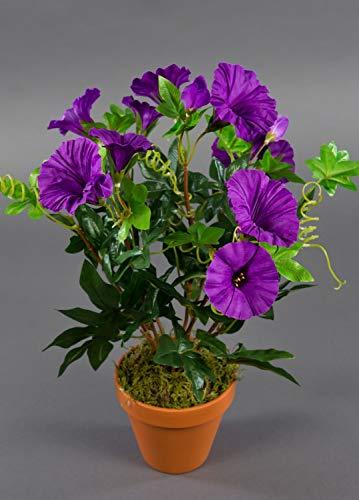 Seidenblumen Roß Petunienbusch 40cm lila im Topf ZF künstliche Pflanzen künstliche Petunie Kunstblumen Kunstpflanzen