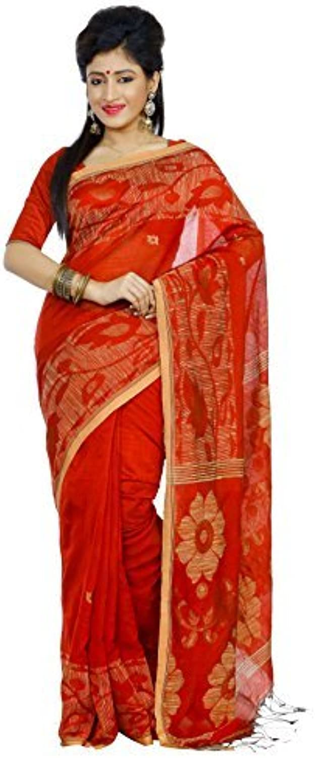 B3Fashion Silk Saree (Ags588_Red & golden Beige)