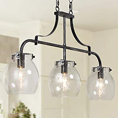 """Kitchen Island Lighting, 3-Light Farmhouse Chandelier for Dining Room, 25"""" Linear Pendant Lighting with Seeded Glass Globes, Rustic Black Metal Finish"""
