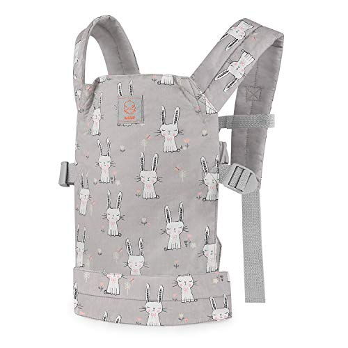 GAGAKU Puppentrage Baby Vorne und Hinten aus Baumwolle für Kinder ab 18 Monate, Rabbit