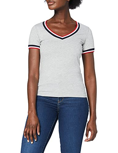 Mexx Damen T-Shirt, Grau (Grey Melange 300001), Large