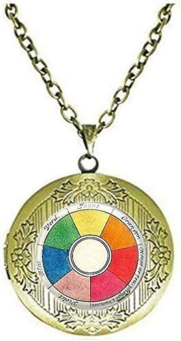 Vintage Color Wheel Locket Necklace Artists Jewelry Teachers Students Jewelry Art Picture Jewelry
