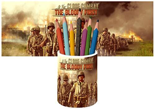 Close Combat The Bloody First Portapenne da Scrivania Ceramica Portamatite Bicchiere Pencil Holder Ceramic Glass