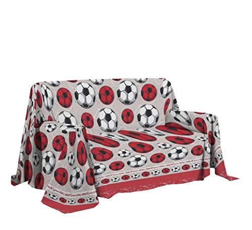 PENSIERI DELICATI Sofabezug 250 x 290 cm Made in Italy, Stoffdecken 100% Reine Baumwolle, Fantasie Fußball Rote, Ideal als Sofaüberwurf, Sofa Cover oder Tagesdecke (Doppelbett)
