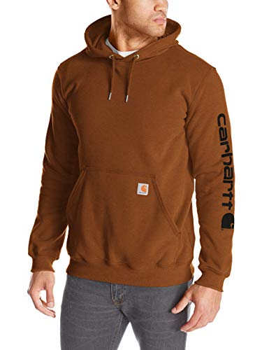 Carhartt Men's Midweight Sleeve Logo Hooded Sweatshirt (Regular and Big & Tall Sizes), Oiled Walnut Heather, X-Large