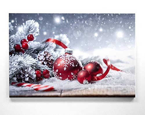 Bezauberndes Wandbild zu Weihnachten, Weihnachtskugel Rot - als großes XXL Leinwandbild 120x80cm. Ideal als Hintergrund und Dekoration für Wohnzimmer & Schlafzimmer. Aufgespannt auf 2cm Holzrahmen