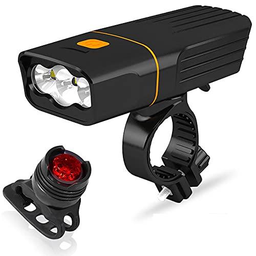 WXHXJY Impermeable LED Kit Luz Bicicleta, Luz Bicicleta LED Recargable USB con 3 Modos 1200 Lúmenes IP65 Impermeable,Apto para Todas Las Bicicletas.