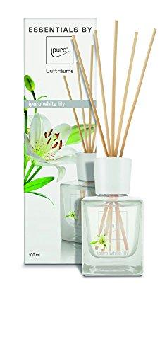 ipuro Essentials Raumduft white lily - Raumduft für ein blumig-zartes Raumklima - Lufterfrischer mit hochwertigen Inhaltsstoffen (100ml) - aus Glas mit Rattanstäbchen