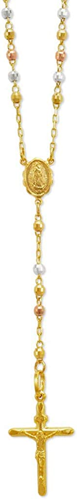 TOUSIATTAR 14K Gold Rosary Chain Necklace - Nice Shiny Tricolor White Yellow Pendant Flawless Jewelry Gift for Women and Men - Available 16 to 24 Inches Length - 2.5MM Wide