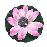 FRCOLOR Farolillo solar LED flotante con forma de flor de loto artificial, resistente al agua, solar, hojas de loto, para piscina, estanque, decoración de jardín