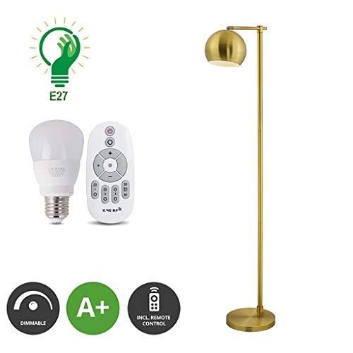 XXCC Creatieve vloerlamp E27 fitting eenvoudige afstandsbediening instelbare tijdkop verstelbare lamp woonkamer slaapkamer messing moderne verticale tafellamp