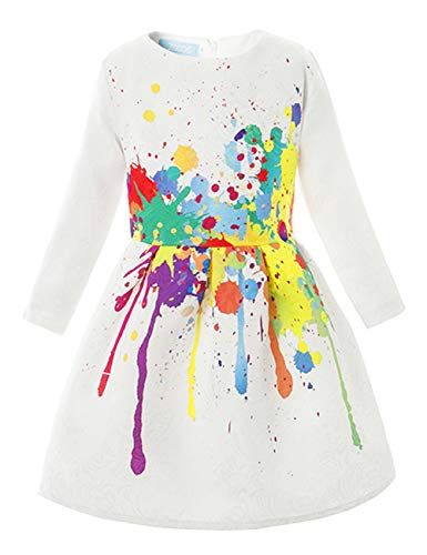 21KIDS Creative Art Colorful Print Summer Girls Casual Dress,3,Long Sleeve(with Lining)