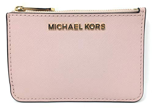 Michael Kors Jet Set Travel Small Top Zip Leather Coin Pouch ID Card Case Wallet In Blossom