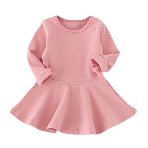 Robe de Bébé de Fille, Internet Casual Solide Robe Princesse à Manches Longues Couleur Bonbon - Mélange de Coton - pour 1-4 Ans (104 (4 Ans), Rose)