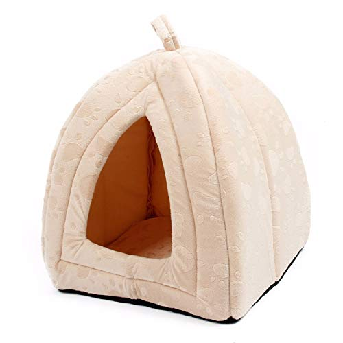 Cat House and Pet Beds 5 Colors Beige and Red Purple, Khaki, Black with Paw Stripe, White with Paw Stripe,Beige,M