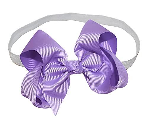WD2U Girls 4' GrosGrain Boutique Hair Bow on White Elastic Stretch Headband USA Lavender