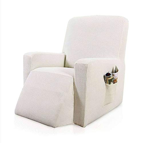 JHLD Stretch Recliner Slipcover, 1Piece Furniture Protector Covers Spandex Jacquard Checked Armchair Covers Recliner Cover with Side Pockets for Living Room-White-Recliner