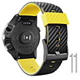 Anbestest Bracelet de rechange compatible avec Suunto 7/Suunto 9, 24 mm, bracelet de montre en silicone pour montre connectée Suunto 9 Baro/Spartan Sport/D5, noir/jaune