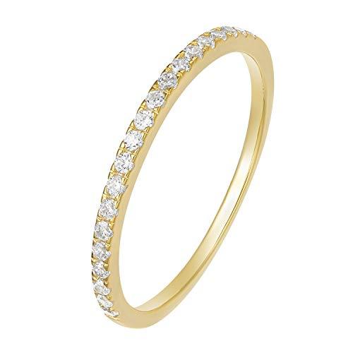 Eternity Anello da donna in argento 925 con zirconi, placcato oro giallo, anelli di fidanzamento, fedi nuziali e argento 925, 53 (16.9), cod. 15012G