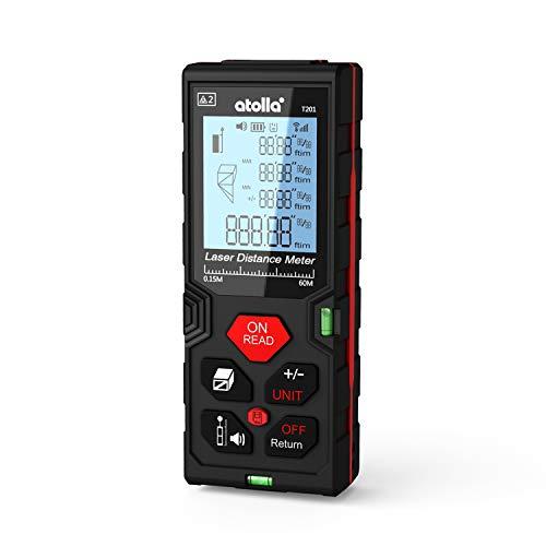 atolla Laser Entfernungsmesser messgerät bis zu 60m/±2mm Messung von Distanz Fläche Volumen mit M/In/Ft Datenspeicherfunktion(Bruchzahl möglich) LCD Hintergrundbeleuchtung Staub und Wasserschutz IP54